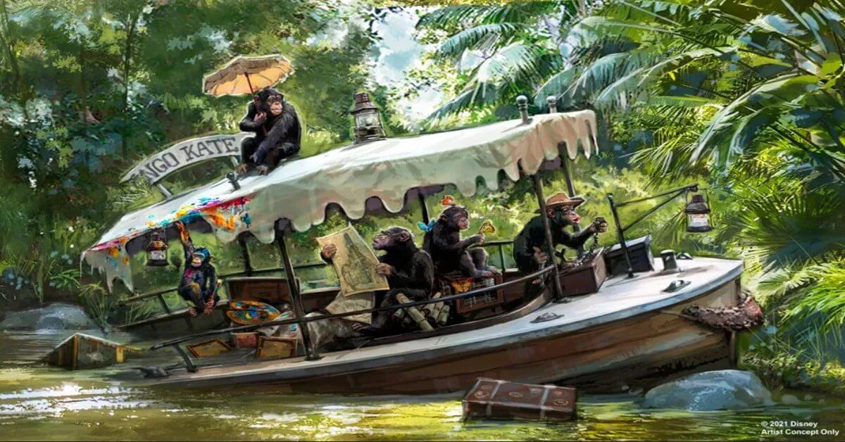 Boot Kongo Kate mit einer Horde Schimpansen bei der Jungle Cruise