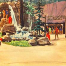Eine farbenfrohe Konzeptzeichnung zeigt eine Gestaltungsidee für den Riverfront Square