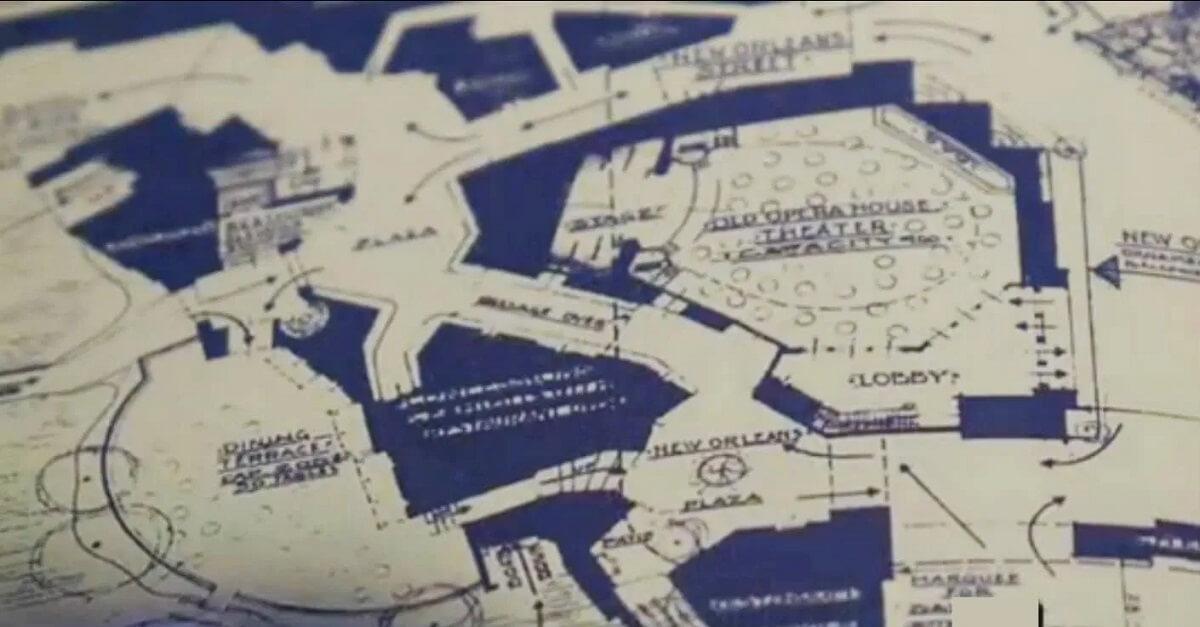 Blaupause für den doch nie gebauten Riverfront Square Indoor-Freizeitpark