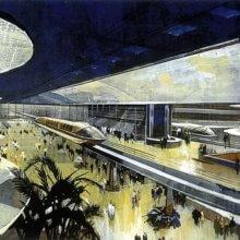 Eine Konzeptzeichnung zeigt die Pläne für das großzügige Transportation Center für Epcot