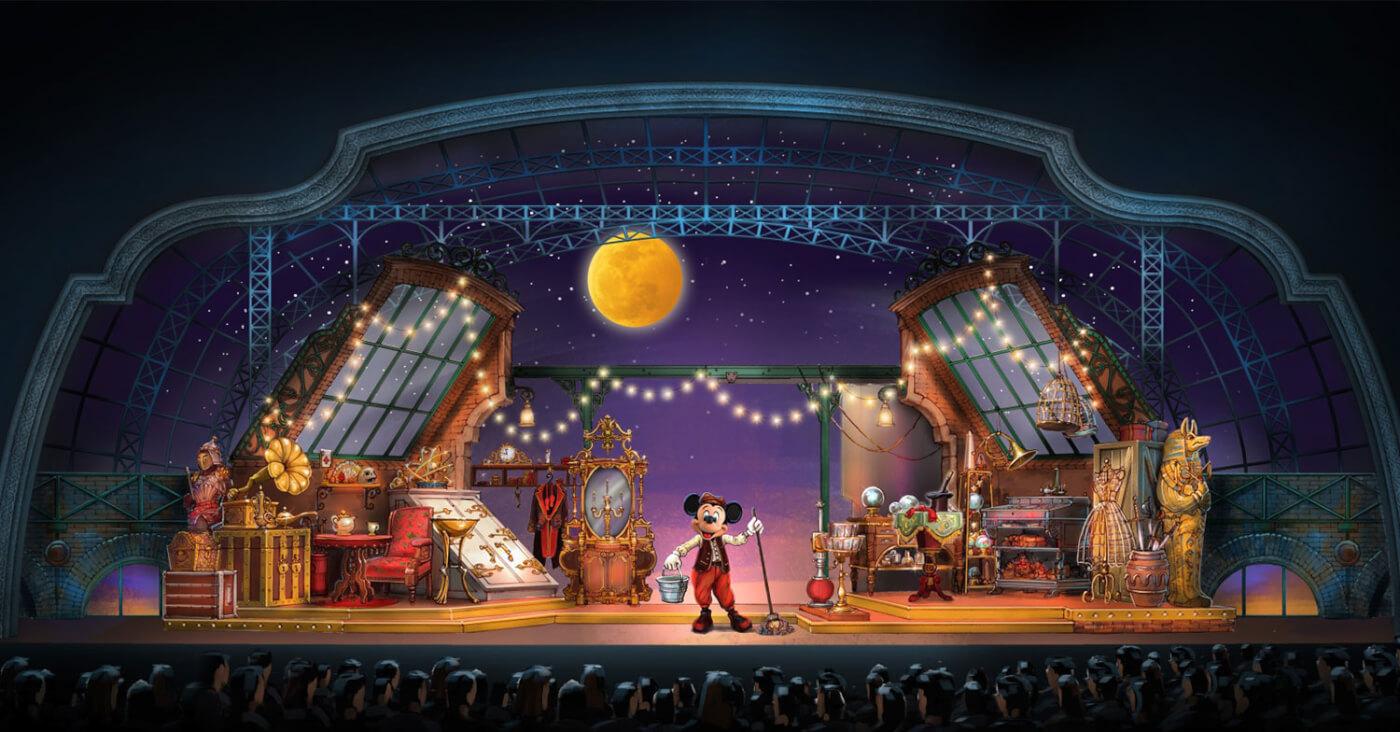In einem Artwork zur Show Mickey and the Magician in den Walt Disney Studios ist Mickey Mouse auf einer großen Bühne umgeben von Requisiten zu sehen