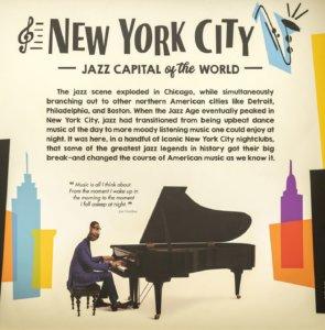 Plakat zur Jazz Ausstellung in Epcot: New York City: Jazz Capital of the World mit Joe Gardner aus Soul und Infotext