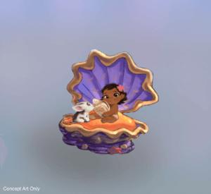 Baby Moana mit Pua in einer Muschel