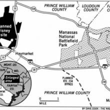 Plan für das Gelände des geplanten Parks Disney's America