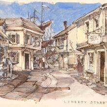 Eine Konzeptzeichnung zeigt die Idee für den Themenbereich Liberty Street
