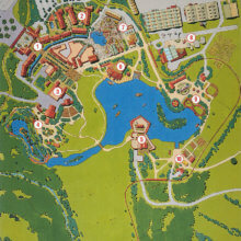 Eine Karte zeigt eine Übersicht über den geplanten Park Disney's America und seine Bereiche