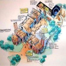 Eine Zeichnung skizziert den Bereich Enterprise rund um die industrielle Revolution für Disney's America