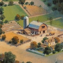 Konzeptzeichnung für einen Themenbereich für Disney's America im Farm-Stil