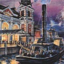 Eine Zeichnung zeigt eine Idee für den Bereich We the people, der an New York und Ellis Island erinnern soll