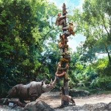 Eine Konzeptzeichnung für die Jungle Cruise zeigt die überarbeitete Pfahl-Szene der Attraktion