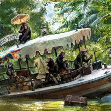 Eine Konzeptzeichnung zeigt eine neue Szene für die Jungle Cruise mit Schimpansen, die ein Boot besetzt haben und Unfug machen