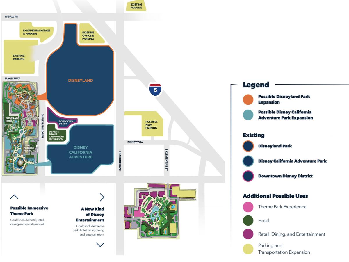 Karte zu den Disneyland Erweiterungsplänen mit Westside und Harborshopping