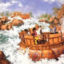 Eine Konzeptzeichnung zeigt die Pläne für eine Wildwasserbahn in Disney's America