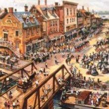 Eine Konzeptzeichnung zeigt die Pläne für den Bereich der Crossroads in Disney's America