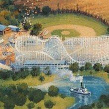 Konzeptzeichnung für den Bereich State Fair mit großer Achterbahn, Riesenrad und Karussell