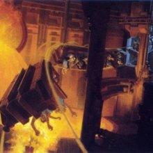 Konzeptzeichnung für eine Achterbahn namens Industrial Revolution im geplanten Disney's America Themenpark