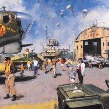 Konzeptzeichnung eines militärischen Hangars