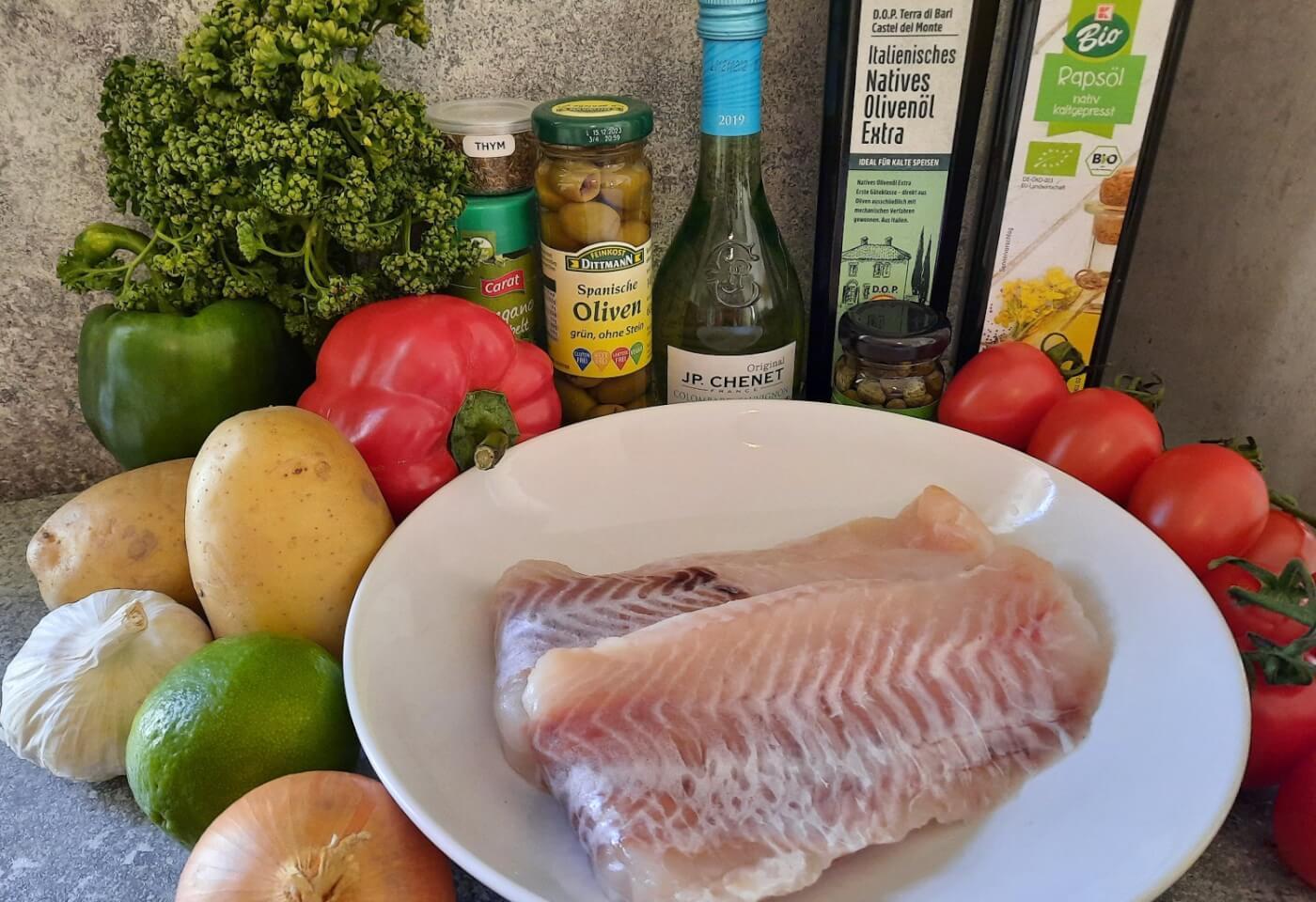 Zutaten für den Pescado a la Veracruzana, ein Fischgericht aus dem mexikanischen Pavillon in Epcot