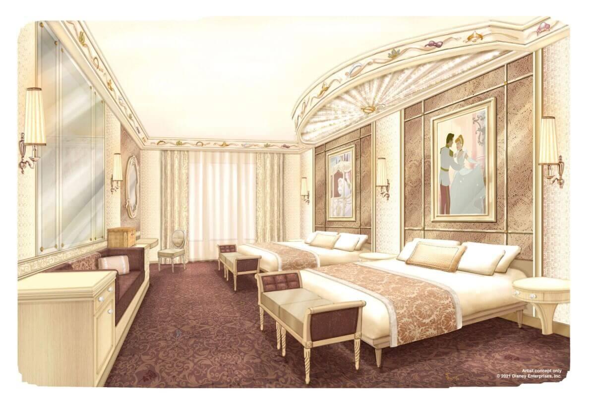 Concept Art für die neuen Zimmer des Disneyland Hotels im Prinzessinnen Design