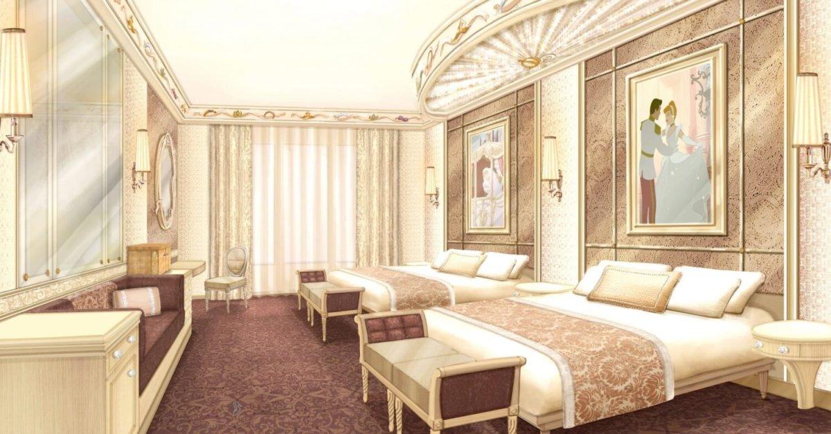 Konzeptzeichnung eines Hotelzimmers mit zwei Doppelbetten einem Sofa und Prinzessinnen-Deko