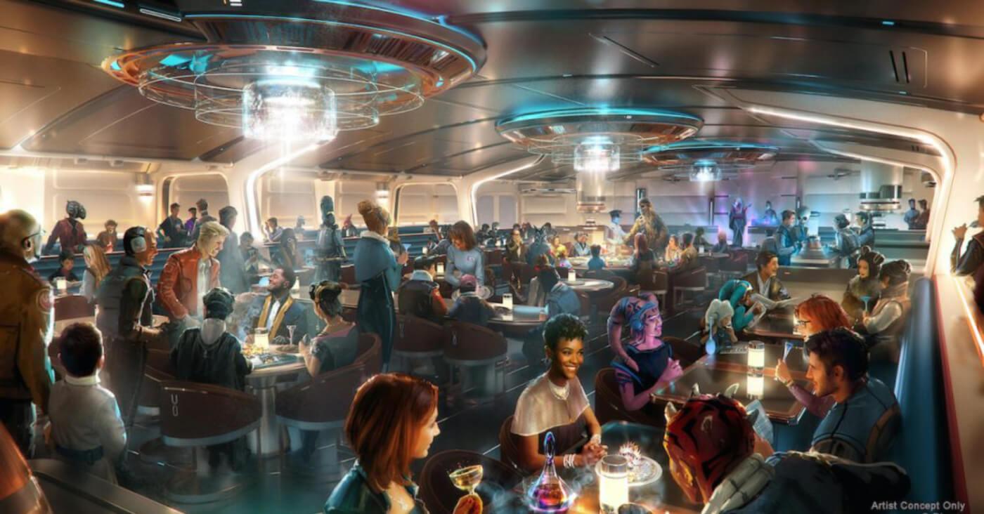 Das Restaurant Crown of Corellia mit vielen Wesen verschiedenster Planeten, die an Tischen sitzen und speisen.