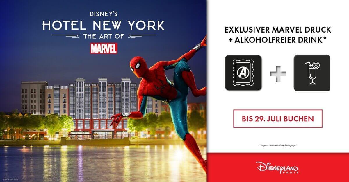 Werbegrafik für das neue gestaltete Marvel Hotel in Disneyland Paris: Disney's Hotel New York - The Art of Marvel