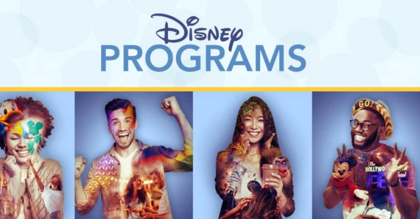 Werbeplakat für das Disney College Program mit vielen lachenden oder lächelnden Menschen