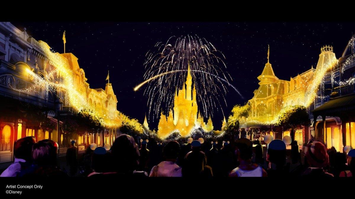 Konzeptzeichnung für Disney Enchantment mit Feuerwerk über dem Schloss