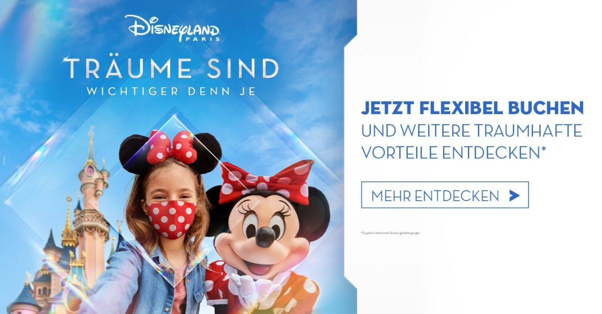 Werbegrafik für Disneyland Paris: Minnie Mouse und ein kleines Mädchen vor dem Dornröschenschloss
