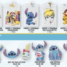 """Durchsichtige Pin Lanyard-Täschchen mit verschiedenen Disney Motiven und mehrere Pins zu Stitch aus """"Lilo und Stitch"""""""