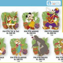 Mehrere Disney Pins im Dschungel-Design mit verschiedenen Disney Figuren wie Chip und Chap oder Donald