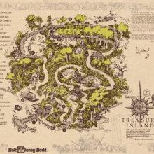 Gezeichnete Übersichtskarte der Treasure Island