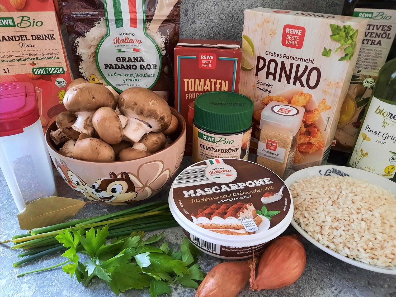 Pilze, Risottoreis, Mascarpone und weitere Zutaten für die Mushroom Arancini wie im Restaurant Cítricos