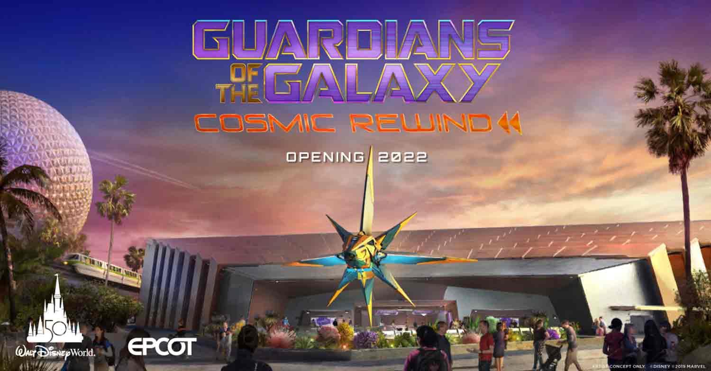 Guardians of the Galaxy: Cosmic Rewind Außenansicht im Wonders of Xandar Pavillon