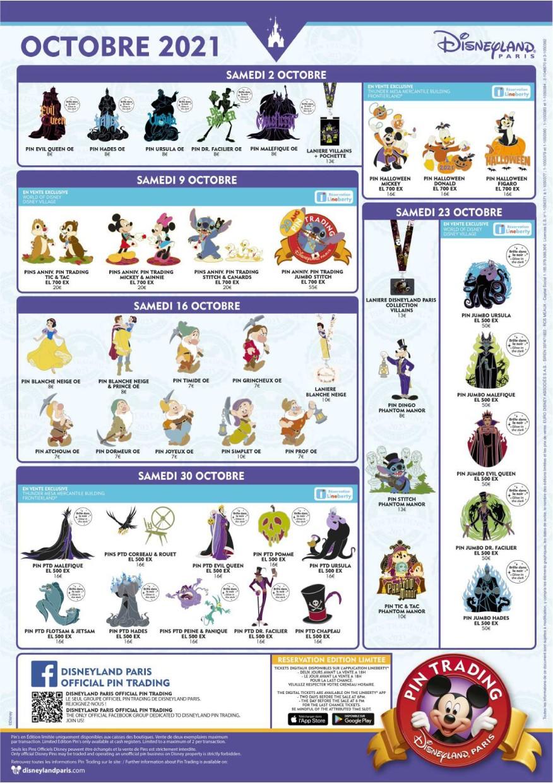 Plakat mit allen Pin-Neuerscheinungen im Oktober 2021 in Disneyland Paris