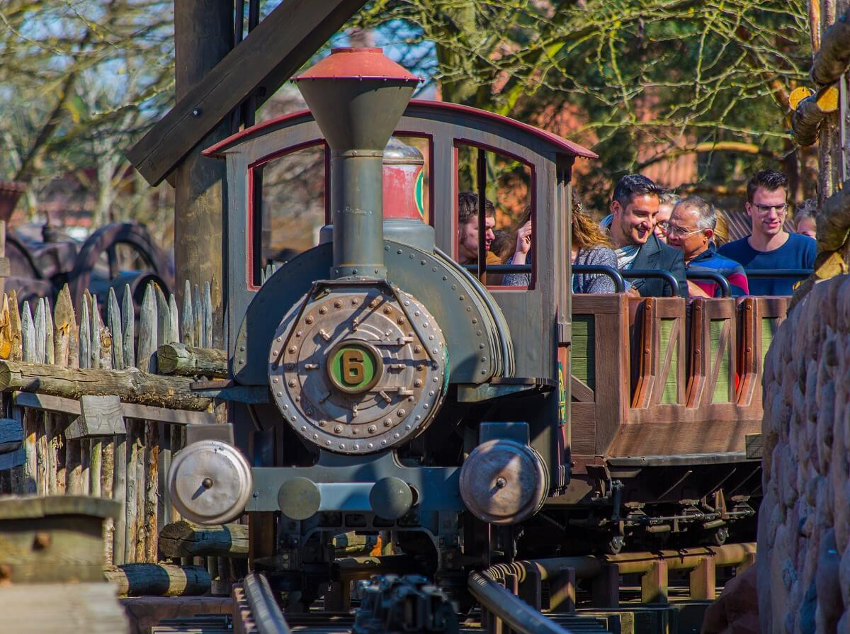 View of an arriving train at Big Thunder Mountain in Frontierland