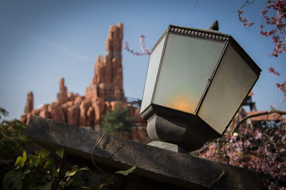 In front of Big Thunder Mountain you can see an old lantern on Boot Hill in Frontierland