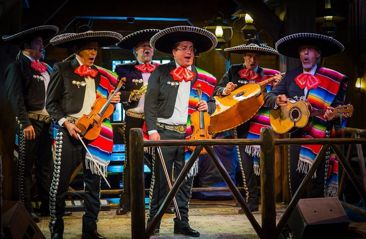 A mariachi band performs at the Cowboy Cookout Barbecue restaurant in Frontierland