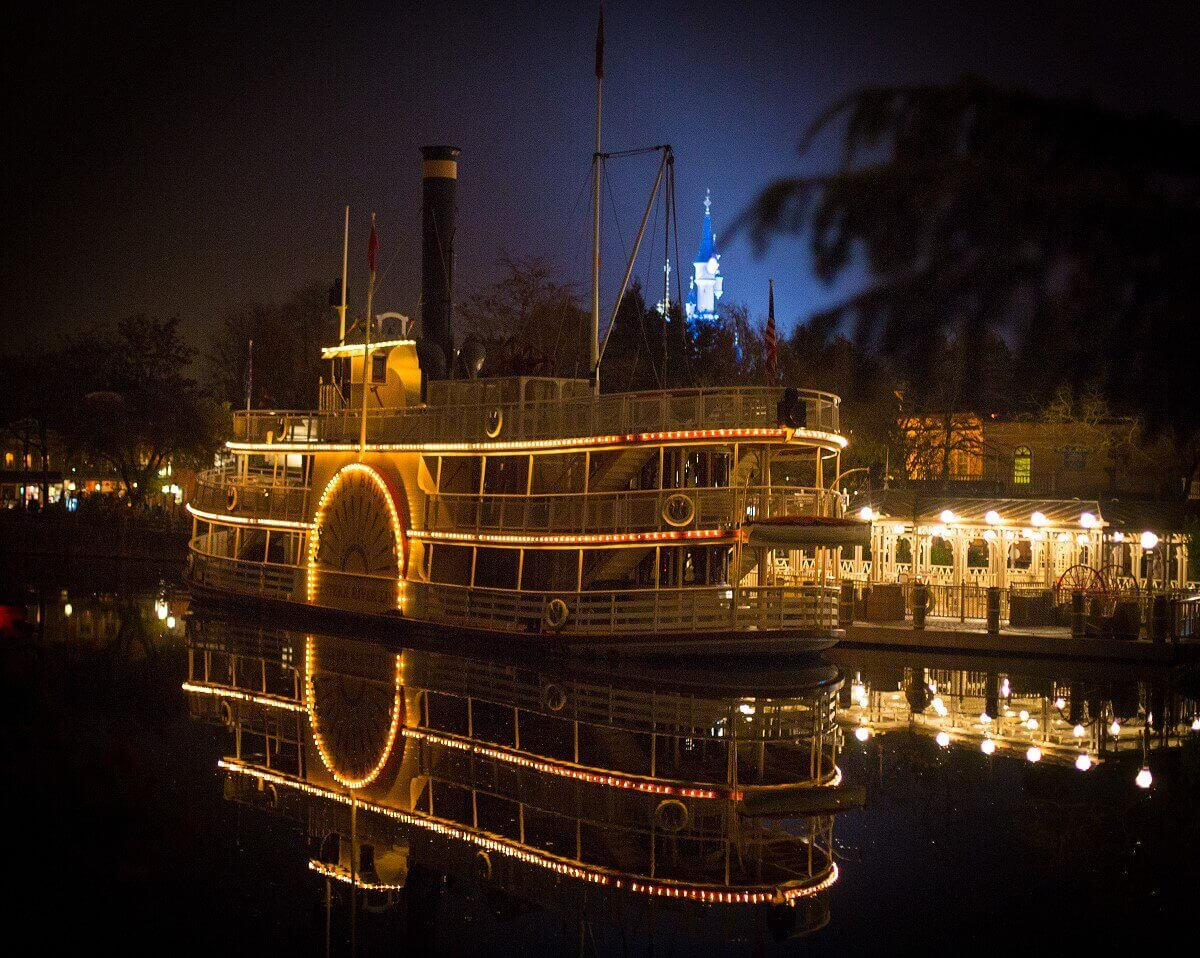 The Molly Brown steamboat with lights at night