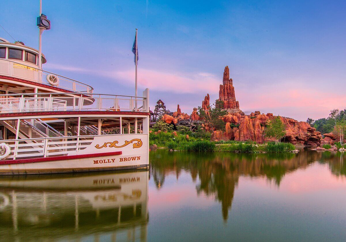 The Molly Brown at dusk, beyond you can see Big Thunder Mountain