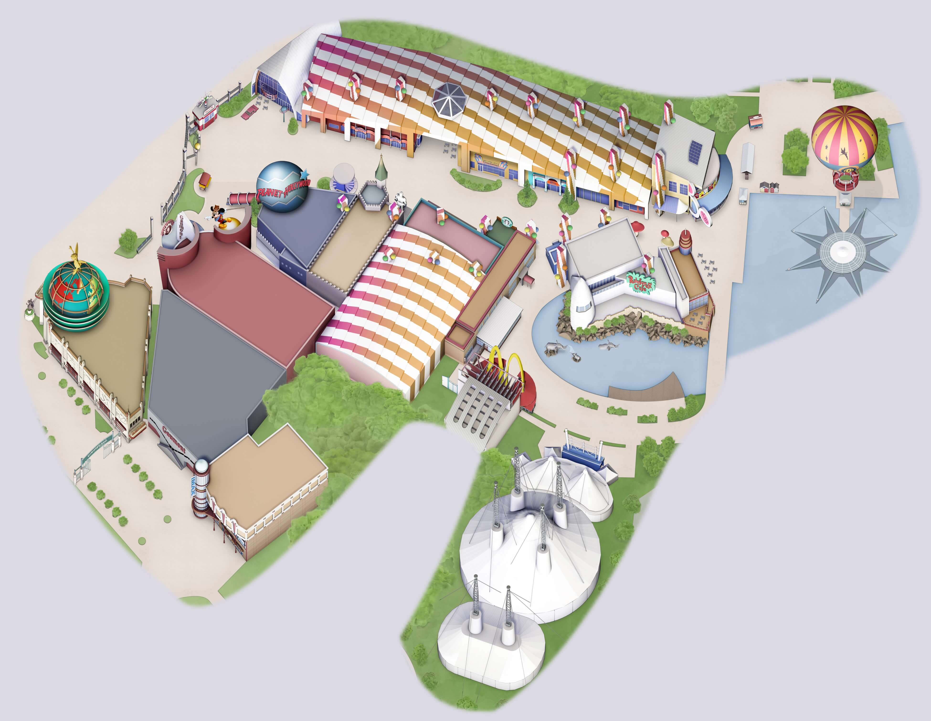 Karte des Disney Village in Disneyland Paris in high resolution