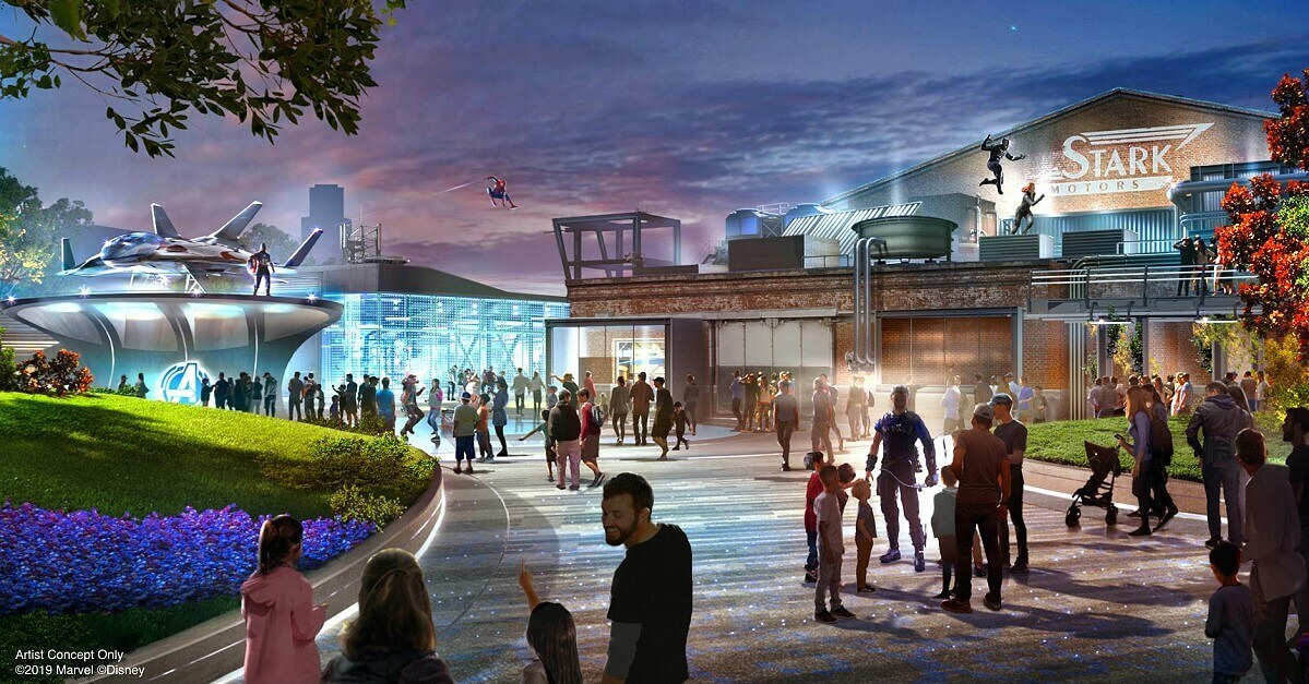 Concept art for the new Marvel area with Spider-Man and Black Panther on the Avengers Campus