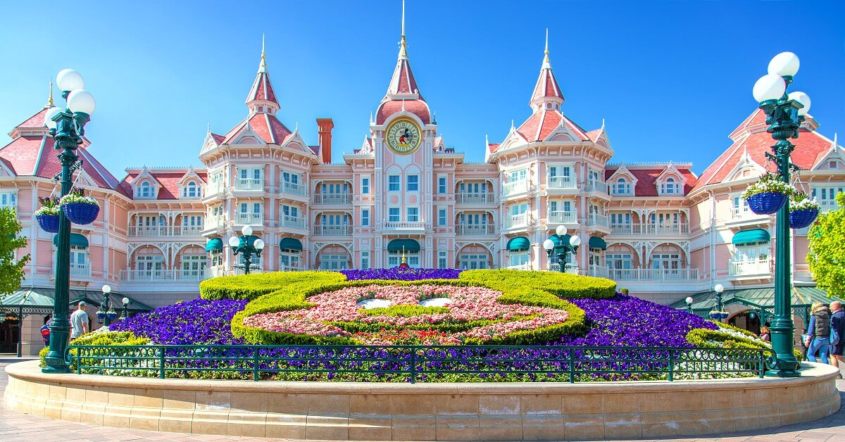 The Disneyland Hotel as seen from Fantasia Gardens