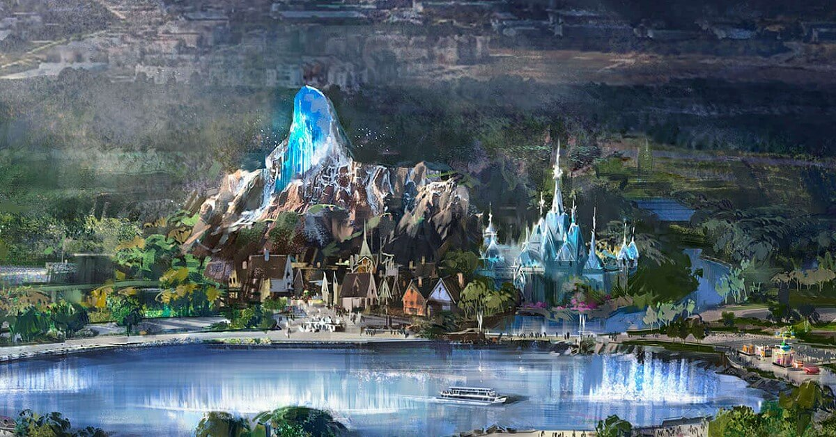 Concept Art des Frozen Land in Disneyland Paris, gelegen am hinteren Ufer des neuen Sees in den Walt Disney Studios