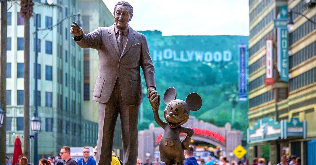 Partners statue with Walt Disney and Mickey Mouse on Hollywood Boulevard