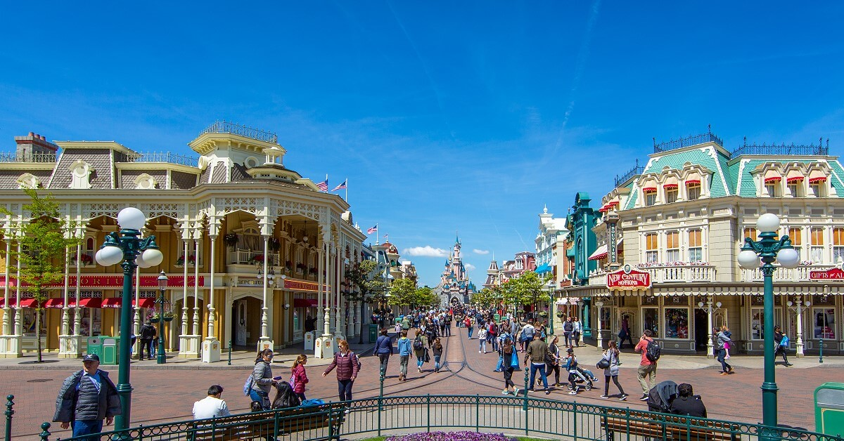 A view from Town Square along Main Street U.S.A. to Sleeping Beauty Castle