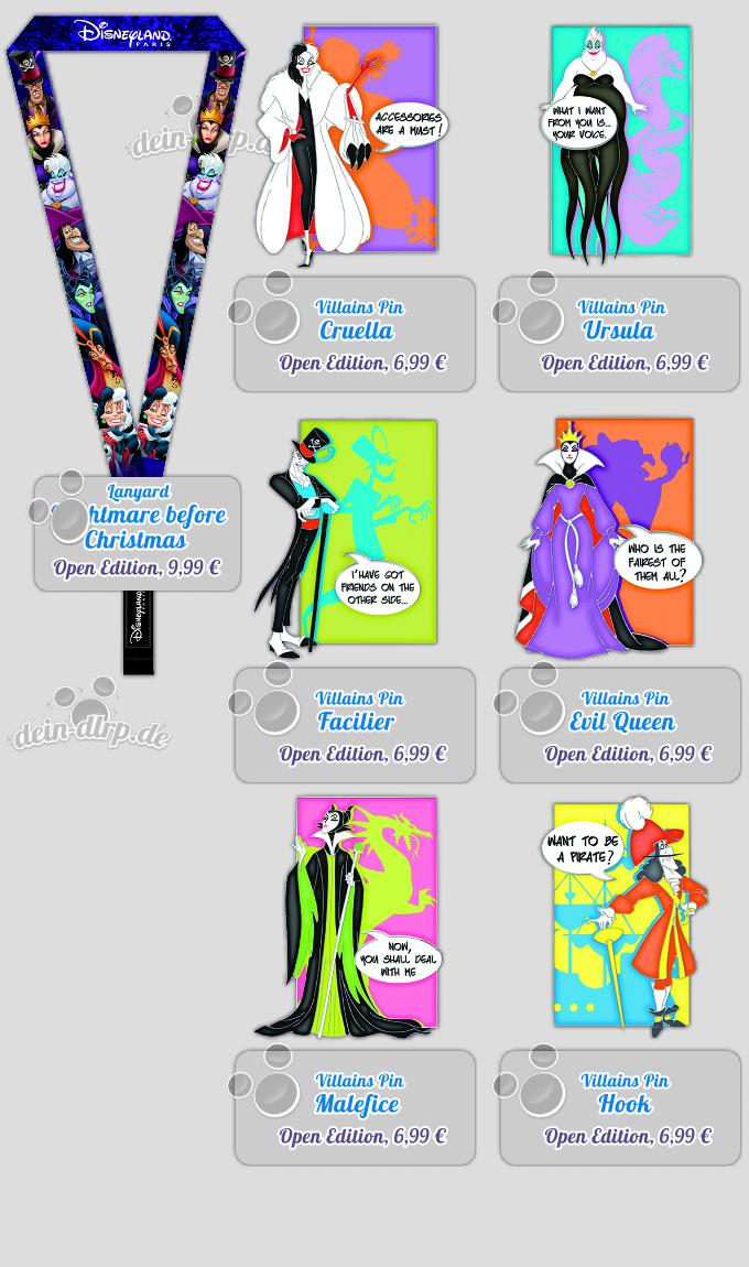Pop Villains Pins am 11.10.14 von Cruella über Maleficent bis Hook