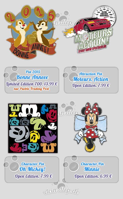 Chip & Chap, Mickey & Minnie und Stunt Show als Pins