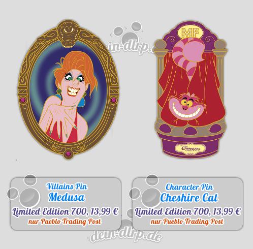 Medusa und Grinsekatze als Pins im Januar 2015
