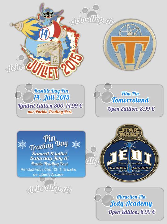 Stitch feiert den Nationalfeuertag und das Logo der Jedi Academy - die Pins von heute